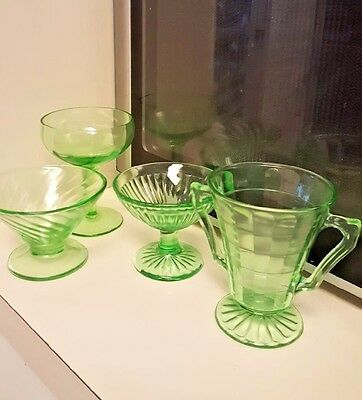 4 pcs Green Vaseline Jeannette Indiana Federal Depression Glass Swirled Squares