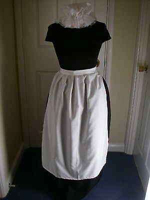 ADULTS VICTORIAN MAID COSTUME SKIRT APRON  and MOP HAT  size 10/14 POST FREE