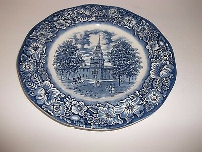 Vintage Staffordshire England Liberty Blue Independence Hall Dinner Plate Dish