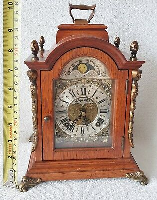 Warmink Clock Mantel Shelf Moonphase Oak Double Bell Strike Silent Mode 26cm