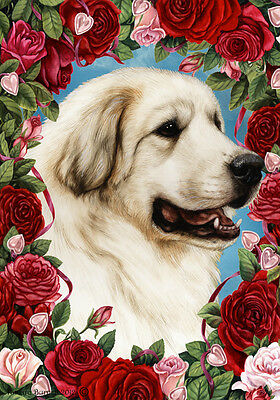 Large Indoor/Outdoor Roses Flag - Great Pyrenees 19146