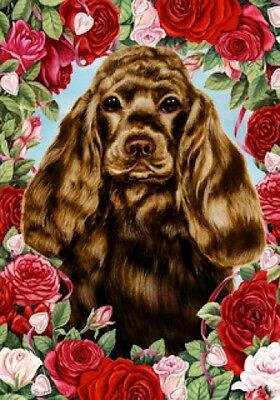 Large Indoor/Outdoor Roses Flag - Chocolate Cocker Spaniel 19206