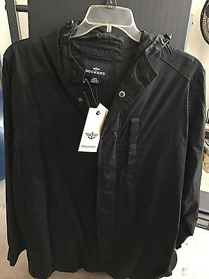 DOCKERS Full Zip WEATHER RESISTANT MESH LINED HOODED JACKET MENS SIZE MED NWT