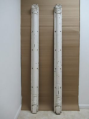 Pair Antique Victorian Cast Iron Corinthian Fluted Column Architectural Salvage