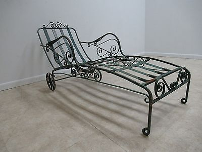 RARE Victorian Scrolled Wrought Iron Outdoor Patio Porch Chaise Lounge Chair