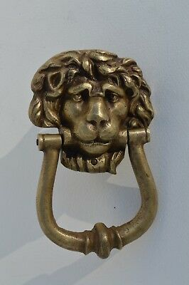 Fantastic Antique Victorian Era Bronze Lion Head/face Door Knocker