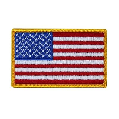 American Flag Gold Border Patch Military Badge USA Embroidered Iron On Applique