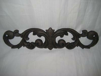 """Rare Vintage Style Cast Iron Scroll Door Topper Wall Plaque  ~ 11 1/2"""" X 3"""""""