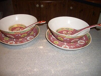 Jingdezhen famille rose mid century 2 CHINESE serving bowl / plates . spoon