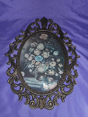Vtg Ornate Oval Metal Frame Convex Wall Picture Victorian Floral Made In Italy