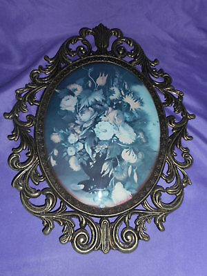 Vtg Ornate Oval Metal Frame Convex Wall Picture Victorian Floral Made In Italy#2