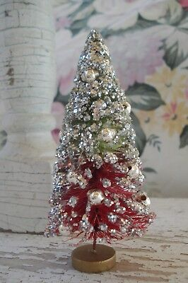 Vintage Japan Red Green Bottle Brush Tree Silver Mercury Glass Beads Dollhouse