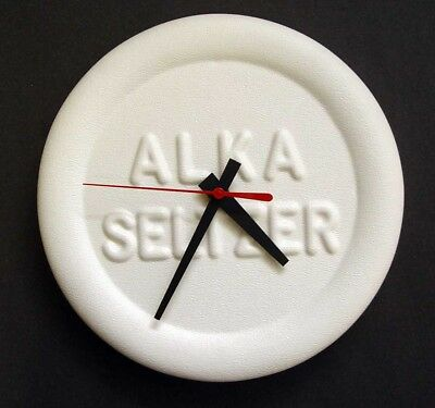 Mint In Box Never-Used Old Original Miles Labs Alka Seltzer Tablet Shape Clock