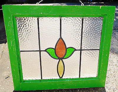 21x18 Old Vtg Art Nouveau Floral Leaded Stained Glass Window Antique Green Gold