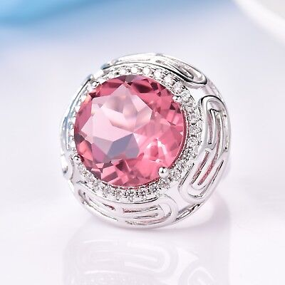 Brilliant Charms Pink Sapphire Crystal Statement Engagement Celtic Knot Rings
