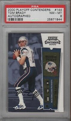 Tom Brady Patriots 2000 Playoff Contenders #144 Rookie Card Rc Auto Signed PSA 8