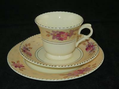Vintage Burleigh Ware TRIO CUP SAUCER SIDE PLATE Tudor Pattern 1930s