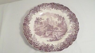 Vintage J&G Meakin England Haddon Hall White & Purple Dinner Plate