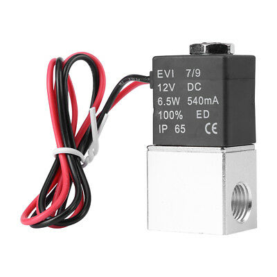 """New 1/4"""" 2 Way Normally Closed Pneumatic Electric Solenoid Air Valve 12V DC 6.5W"""