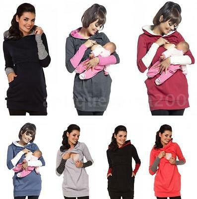 Women Long Sleeve Breastfeeding Hoodie Nursing Maternity Shirts Convenient N4R0