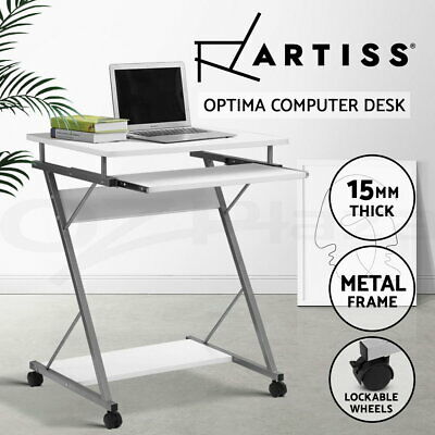 Artiss White Office Computer Desk Metal Student Table Pull-Out Tray Mobile Home