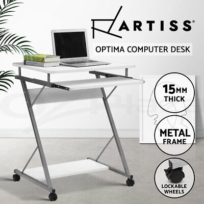 White Office Computer Desk Metal Student Table Pull-Out Tray Mobile Home