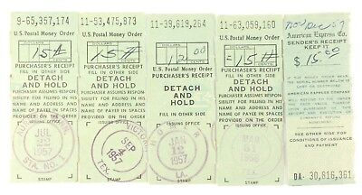 Lot 5 Vintage Us Postal Service Money Order Receipts 1957 1958 American Express