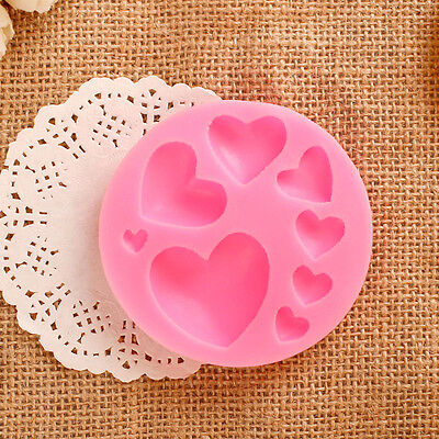New 3D Diy Lovely Heart Shape Silicone Cake Fondant Mold Sugar Chocolate Mould