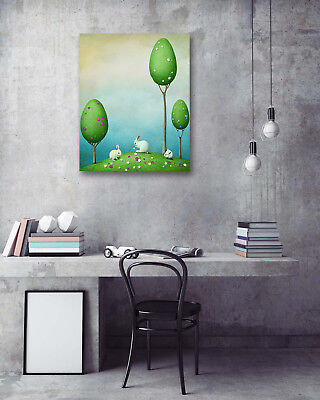 Easter Grassland Play Rabbit Modern Art Poster Print Room Decor Canvas Painting