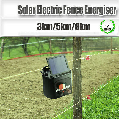3km/5km/8km Solar Electric Fence Energiser Energizer Power Charger Fencing