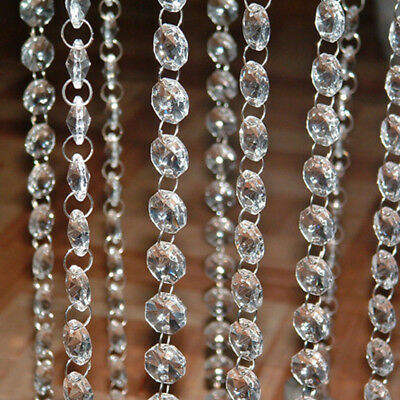 1M Clear Crystal Acrylic Chandelier Part Prism Octagonal Beads Chain Home Decor