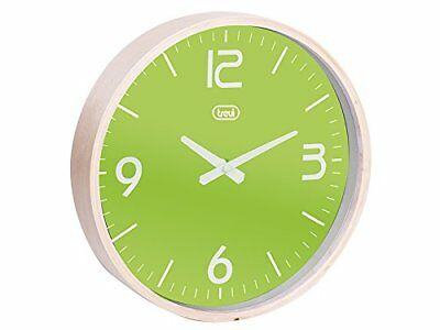 Trevi Retro Style Wall Clock Natural Wooden Surround Green Face 25cm Diameter