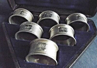 Superb CASED Set of 6 NUMBERED ~ SILVER Plated ~ Napkin RINGS ~ c1900
