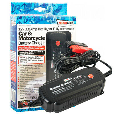 12V 3.8Amp Intelligent Fully Automatic Car & Motorcycle Trickle Battery Charger