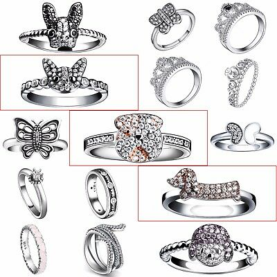 Fashion Fine 925 Silver Jewelry Cubic Zirconia Crystals Wedding Rings New Design