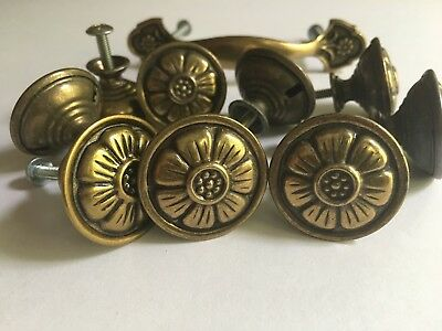 10 Pc Lot Vintage Brass Flower Draw Knob Pulls Cabinet Hardware