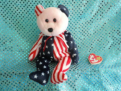 Ty Beanie Baby  1999, Spangle Teddy Bear Pink Face Patriotic,  Mint