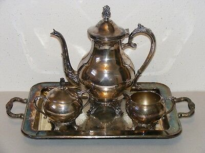 Vtg 1224 1883 FB Rogers Silver Co silverplate tea cream sugar set & serving tray