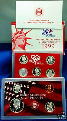 1999-s U.S. SILVER Proof Set.  U.S. Mint Made in Red Mint Box with COA