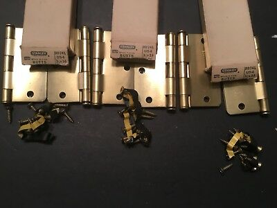VTG 3 Pairs Stanley Brass Plated Steel Butts 3-1/2 x 3-1/2 Door Hinges RD741 USA