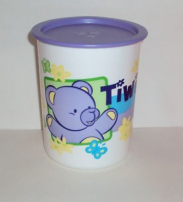 New Tupperware 5 Cup Decorator One Touch Canister TIWI Teddy Bear Design Purple
