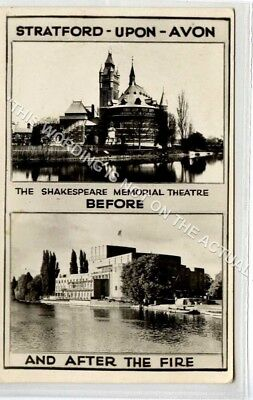 (Ld6021-183) RP, Shakespeares Memorial Theatre, Before and After Fire Unused VG