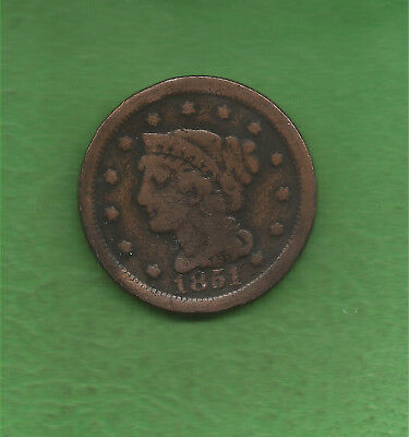 1851 Braided Hair, Large Cent - 167 Years Old!!!