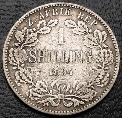 1894 South Africa 1 Shilling 92.5% Silver Coin KM# 5 - KEY DATE