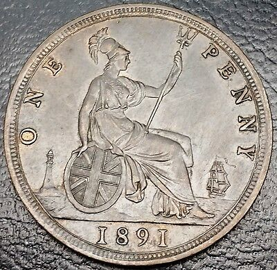 1891 Great Britain 1 Penny KM# 755 **BETTER GRADE** Free Combined S/H