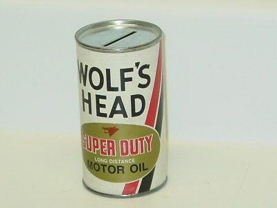 Vintage Wolf's Head Super Duty Motor Oil Coin Bank Can, Paper Label