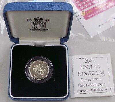 2000 United Kingdom Silver Proof One Pound Dragon Coin Box & Coa Free Shipping
