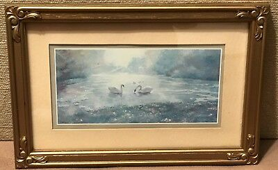 Homco Home Interiors Framed Picture Swans on the Water DAC NY 1984 Gold Frame