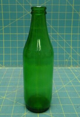 "Vintage 8"" Green Soda Bottle No Deposit No Return 10 FL. OZ. Embossed"