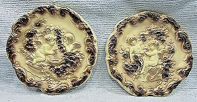 Pair old 1940s Cherubs large 1x12 round vintage chalkware plaques FREE S/H